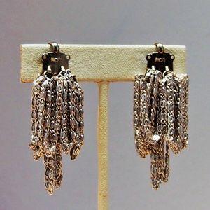 VTG Snail Chain Link Cluster Dangle Earrings